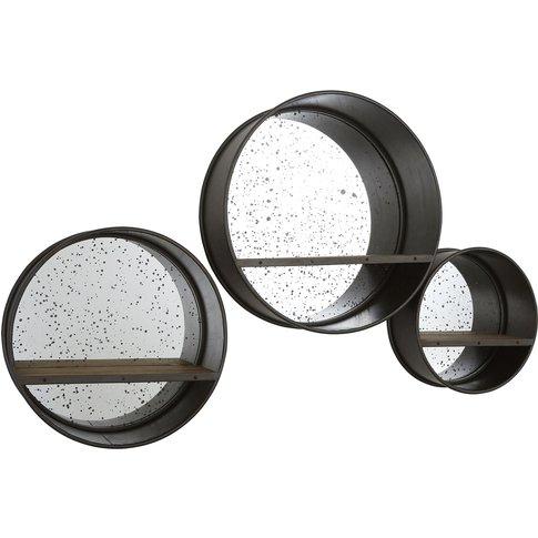 Trinity Wall Mirrors, Round / Fir Wood, Set Of 3
