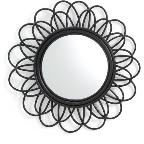 Nogu Black Cane Double Flower Mirror