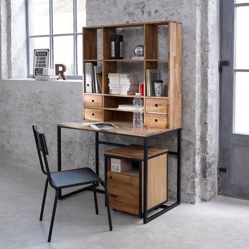 Hiba Oak And Metal Desk, With Extension