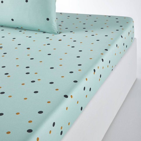 Perfect Night Fitted Sheet In Polka Dot Print Cotton