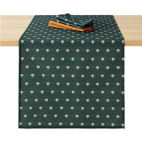 Mina Green Patterned Stain-Resistant Table Runner