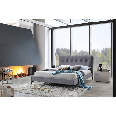 Square Back Velvet Bed Frame - Grey
