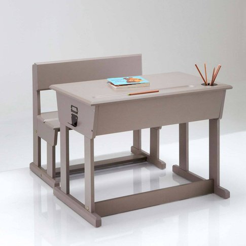 Toudou Solid Pine Reading Child's Desk + School Chair