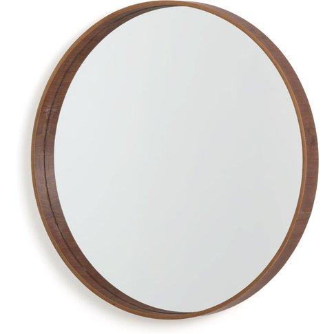 Alaria Round Walnut Mirror