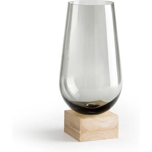 Kumba Smoked Glass & Light Oak Vase