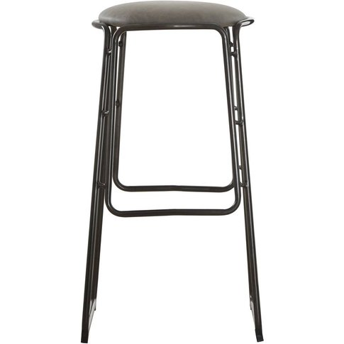 Bar Stool In Vintage Ash & Gunmetal Legs With Faux Leather Seat