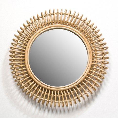 Tarsile Round Rattan Mirror, Diameter 60cm
