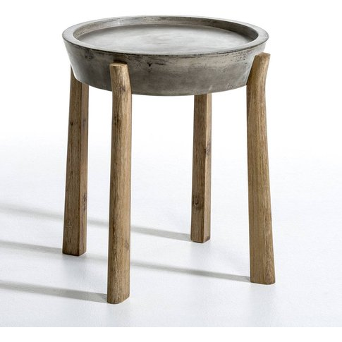 Maden Round Concrete & Wood Side Table