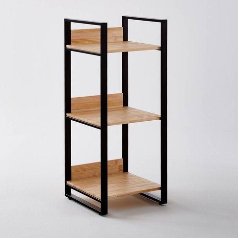 Hiba Pine & Metal Small Shelving Unit