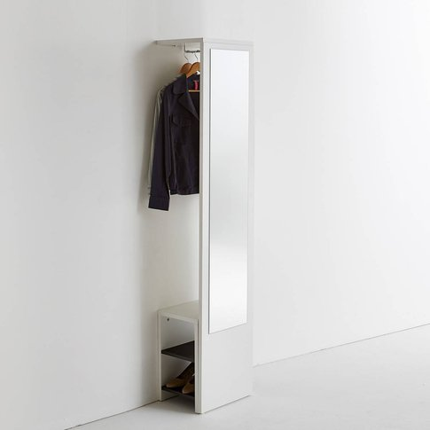 Reynal Wall-Mounted Coat Rack With Mirror And Shoe-Tidy