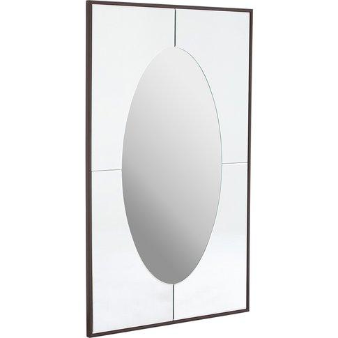 Rectangular Wall Mirror, Oval Design, Silver