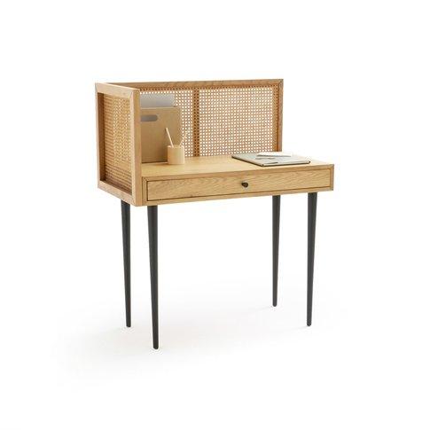 Waska Vintage-Style Rattan & Oak Desk