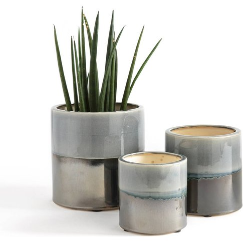Cecco Two-Tone Ceramic Plant Pots (Set Of 3)