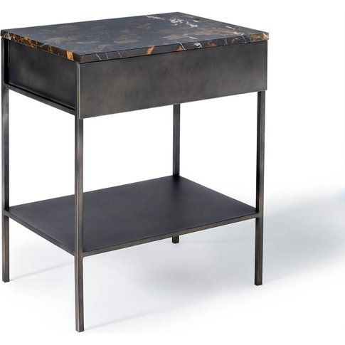 Ambrette Amber Marble & Metal Side Table