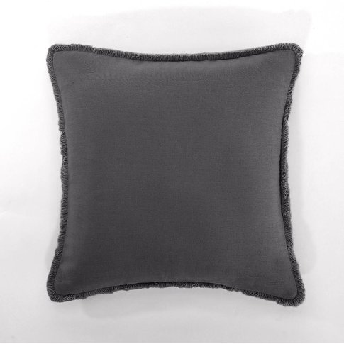 Barica Pre-Washed Linen Cushion Cover With Zip Faste...