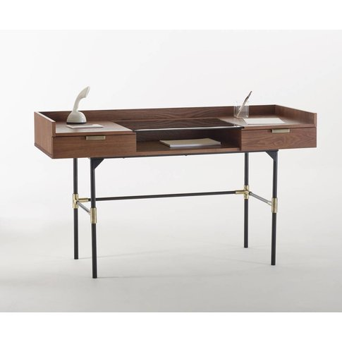 Arlon Walnut & Metal Contemporary Design Desk