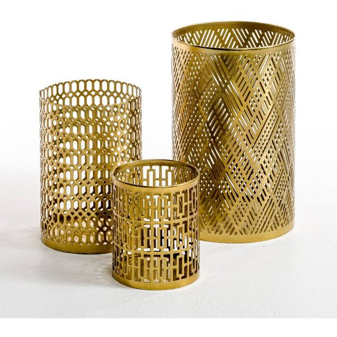 Anhés Set Of 3 Perforated Metal Candle Holders