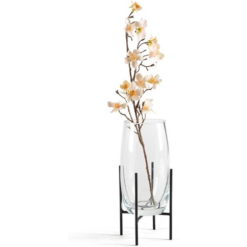 Nebka Glass Vase With Metal Stand (Small)
