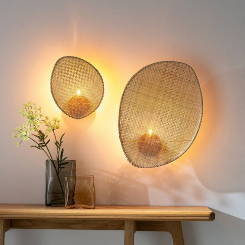 Canopee Small Wall Light By E. Gallina In Rattan & M...