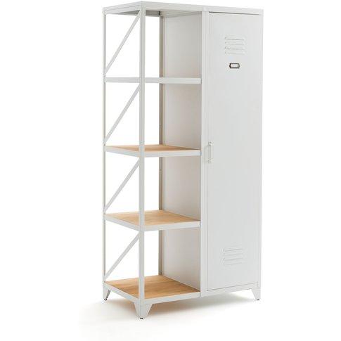 Hiba Metal And Pine Single-Door Cabinet And Shelving...