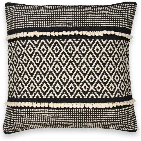 Curico Geometric Monochrome Embroidered Cotton Cushi...