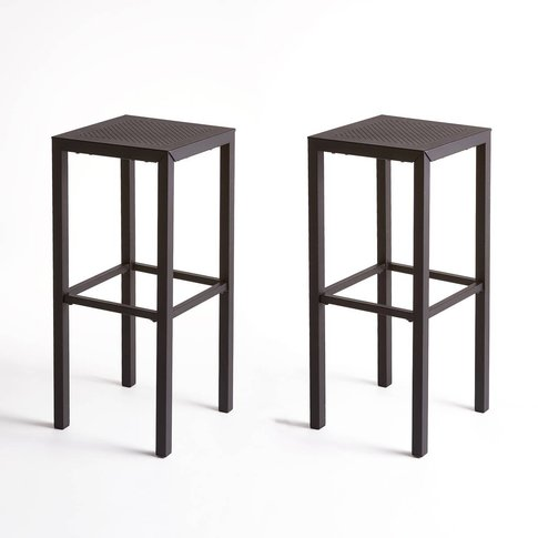 Set Of 2 Choe Perforated Metal Bar Stools