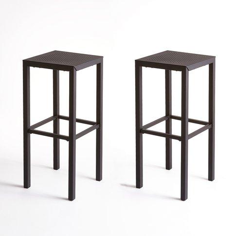 Choe Perforated Metal Bar Stools (Set Of 2)