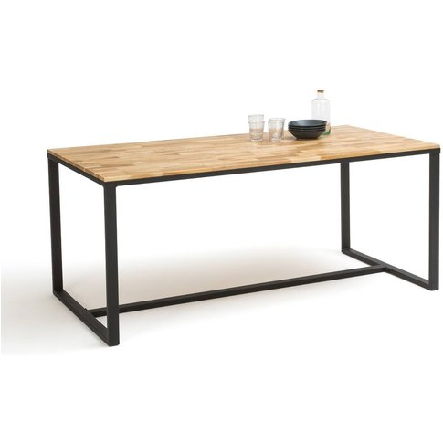Hiba Dining Table In Oak/Steel, Up To 8 Covers.