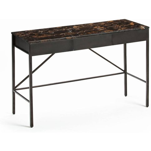 Fébée Console Desk with Amber Marble Top