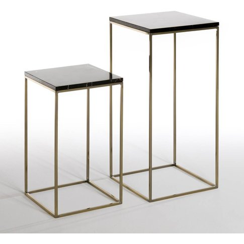 MAHAUT Marble Top Metal Nesting Tables (Set of 2)