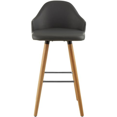 Bar Stool in Dark Grey Leather Effect with Beech Woo...