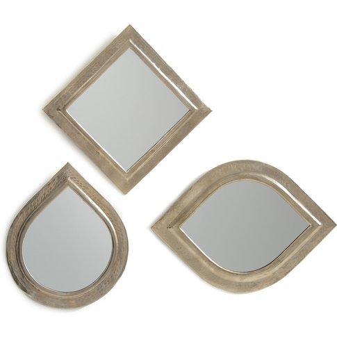 Set Of 3 Afira Hammered Metal Moroccan Mirrors