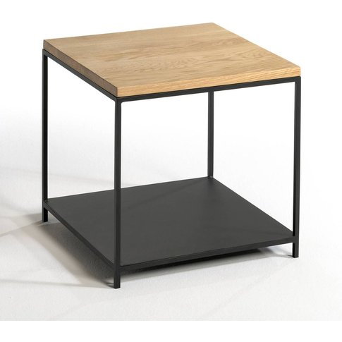 ARANZA Solid Oak & Metal Square Side Table