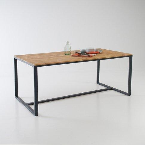 Hiba Solid Oak/Steel Dining Table (Seats 6-8)