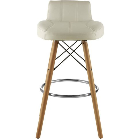 Bar Stool In White Leather Effect With Beech Wood Legs