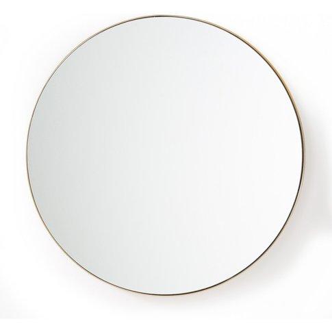 Iodus Round Mirror With Brass Frame, 120cm