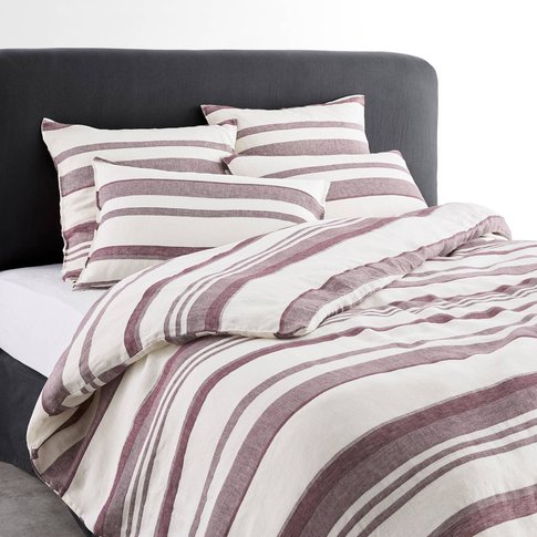 Volutta Striped Duvet Cover In Washed Linen