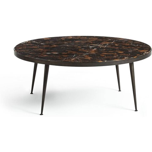 MADRIGAL Amber Marble & Metal Round Coffee Table