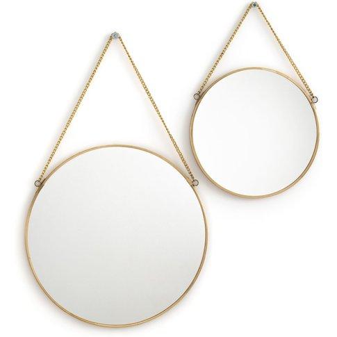 Uyova Set Of 2 Round Brass Or Black Mirrors