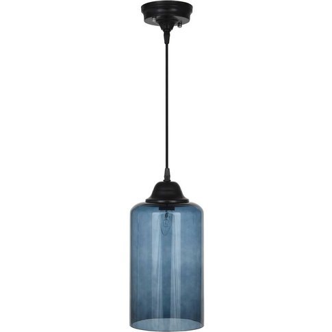 Ceiling Pendant Light In Teal Glass