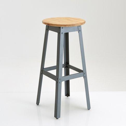 Hiba Wood & Metal Industrial Look Bar Stool