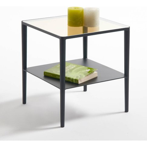 Razzi Two-Tier Side Table In Glass And Steel