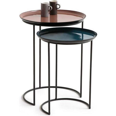 Tivara Set Of 2 Round Nesting Side Tables In Steel