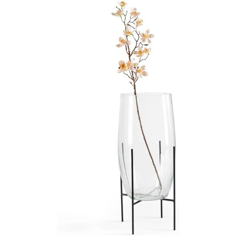 Nebka Glass Vase With Metal Stand