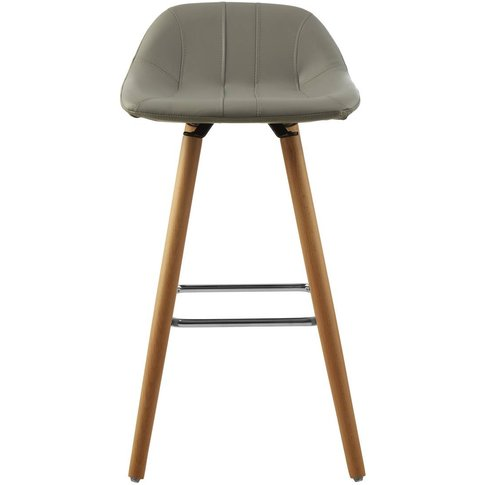 Bar Stool in Light Grey Leather Effect with Beech Wo...