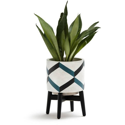 Grafico Ceramic/Wood Plant Pot with Feet