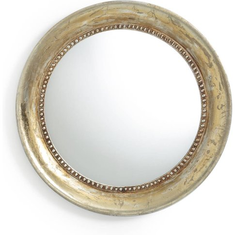 Afsan Round Mirror With Aged Effect Gold Painted Finish