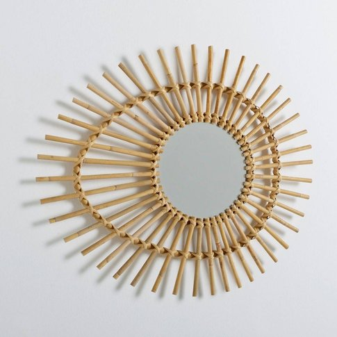 Nogu Eye-Shaped Vintage Rattan Mirror