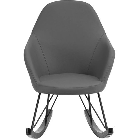 Rocking Chair in Dark Grey Faux Leather with Black O...
