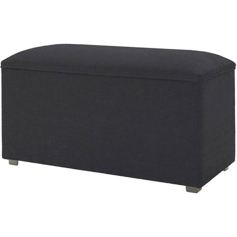 Large Storage Ottoman - Chenille Charcoal